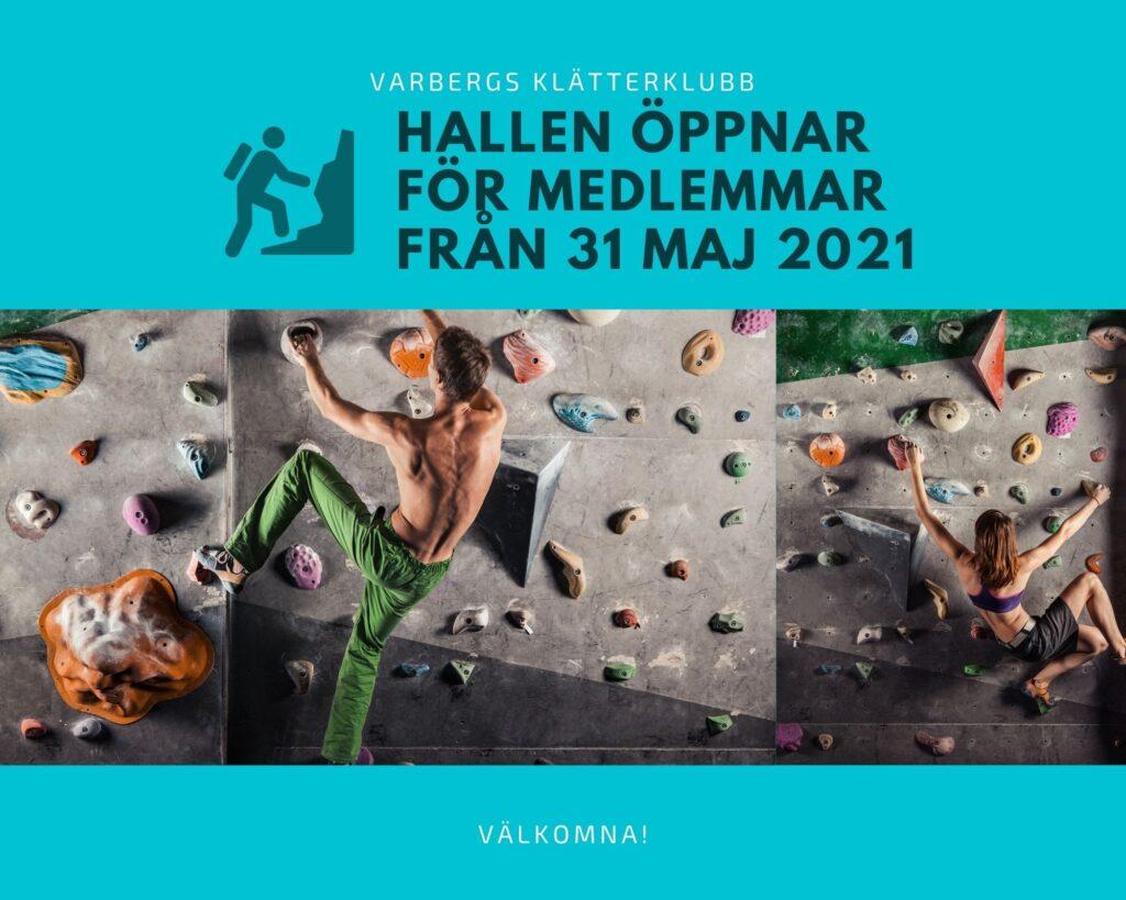 Hallen öppnar 31 maj 2021 för medlemmar